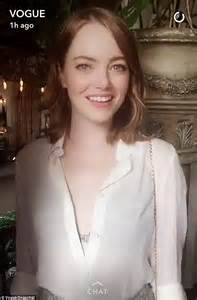 emma stone snapchat emma stone dazzles in a metallic bra and skirt at vogue