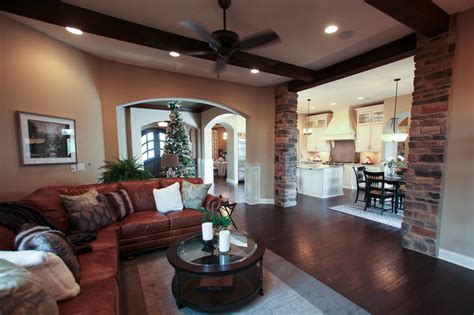 rustic great room transitional living room dublin  instyle interiors