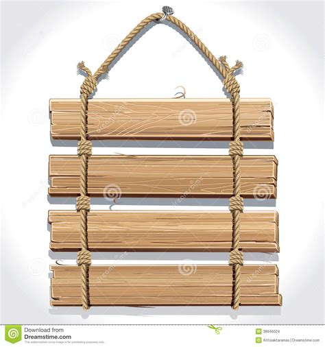 nail free hanging wooden sign with rope hanging on a nail stock vector