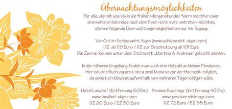 Hochzeitseinladung Unterkunft by Einlagekarten Florale Elemente In Orange