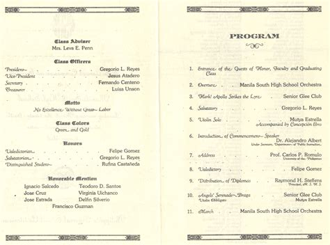 Manila South High School Class Of 1927 50th Graduation Anniversary Homecoming Part 1 Museo High School Graduation Program Template
