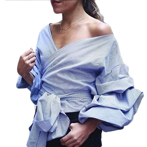 Blue Ruffle Puff Blouse shirts tops and blouses 2016 new fashion puff sleeve