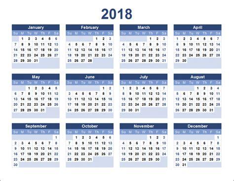 Or 2018 Free Print Free Calendar 2018