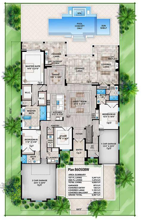 high  florida house plan bw architectural