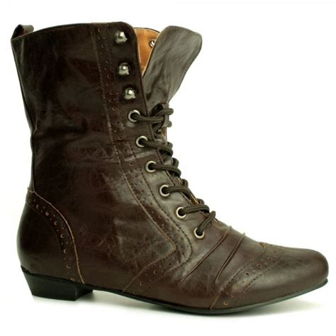 womens brown brogue flat lace up ankle boots from