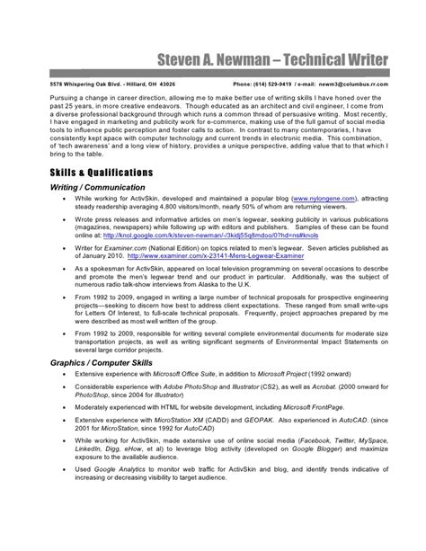 technical writing resume technical writer resume steve newman