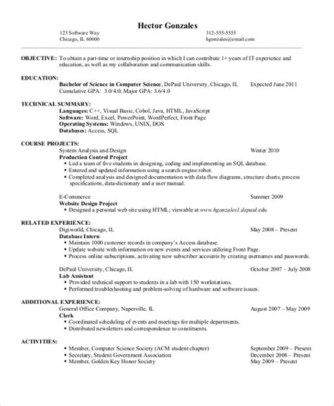 Resume Exles Science Field Computer Science Resume Template Resume Format Pdf