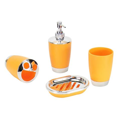 orange bathroom accessories set 4 piece bathroom accessory set orange dk st011