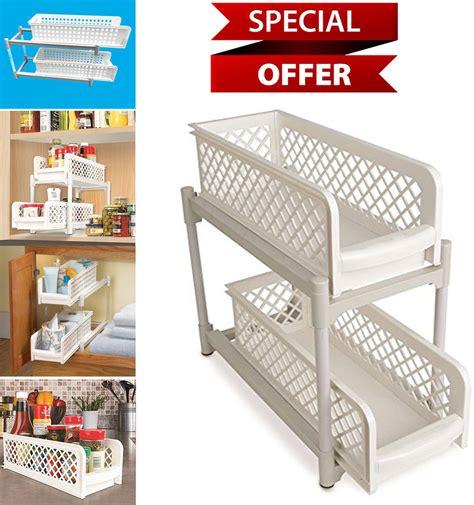 2 tier kitchen cabinet sliding shelf basket bathroom