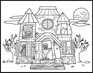 printable coloring pages of haunted houses free printable halloween coloring pages haunted house