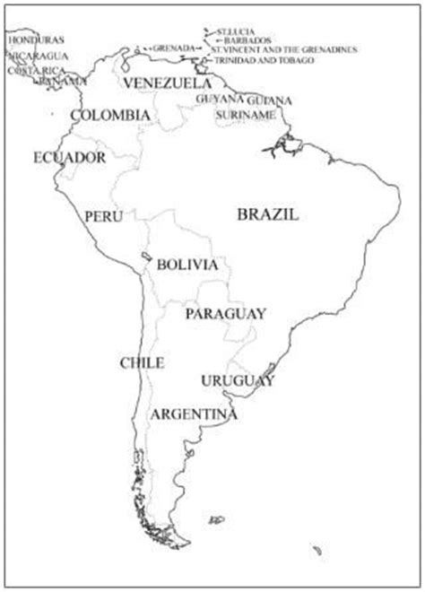 outline map of south america with countries south america maps and continents on