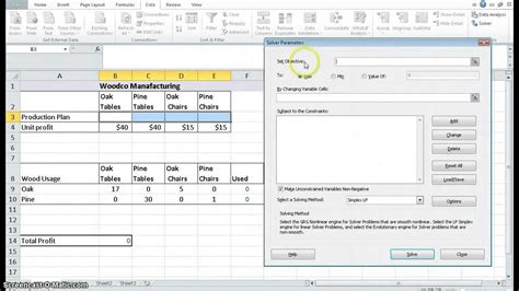 tutorial excel solver using excel solver to solve a lp problem youtube