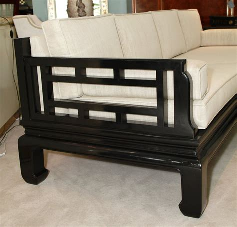 asian sofa furniture asian inspired black lacquer sofa at 1stdibs