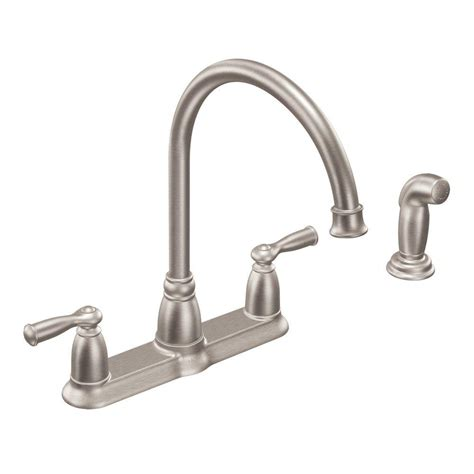 moen high arc kitchen faucet moen banbury high arc 2 handle standard kitchen faucet with side sprayer in spot resist