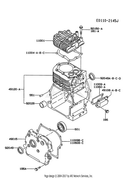 kawasaki fad fs  stroke engine fad parts diagram  cylindercrankcase