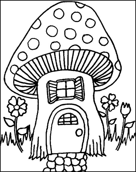 mushroom house coloring page fairies