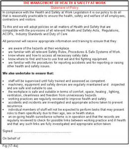 health and safety statement of intent template health and safety policy template