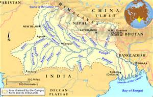 Where is the ganges river on a map geography of south asia