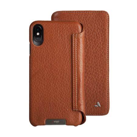 vaja wallet agenda iphone xs max premium leather case tan