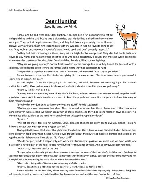 Deer Hunting - Reading Comprehension Worksheet | Have Fun