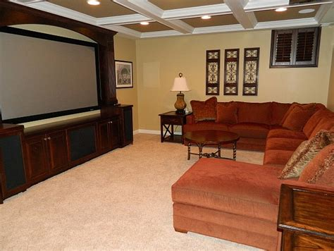 warm cozy basement retreat traditional home theater columbus by colleen lora clark