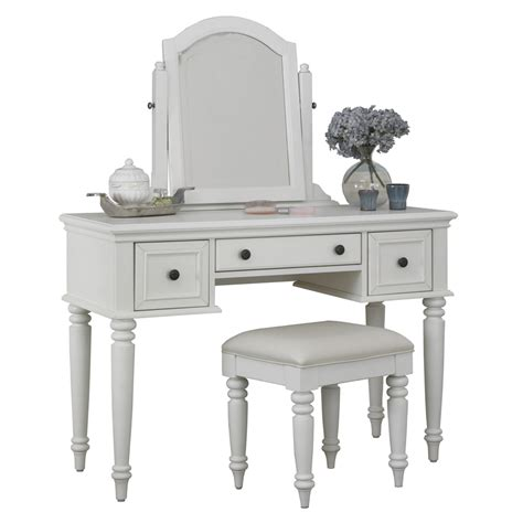 Shop home styles bermuda brushed white makeup vanity with stool at lowes com
