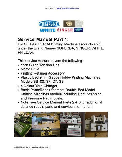 A Free Dating Service Guide Part 1 by Service Manual Part 1 For Bed Knitting Machines