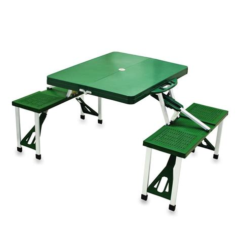 Green Patio Table Picnic Time Portable Folding Green Patio Picnic Table With Seats 811 00 121 Vip Outlet