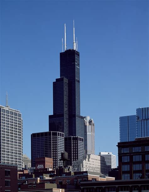 willis tower chicago aerial view of chicago illinois the black skyscraper is