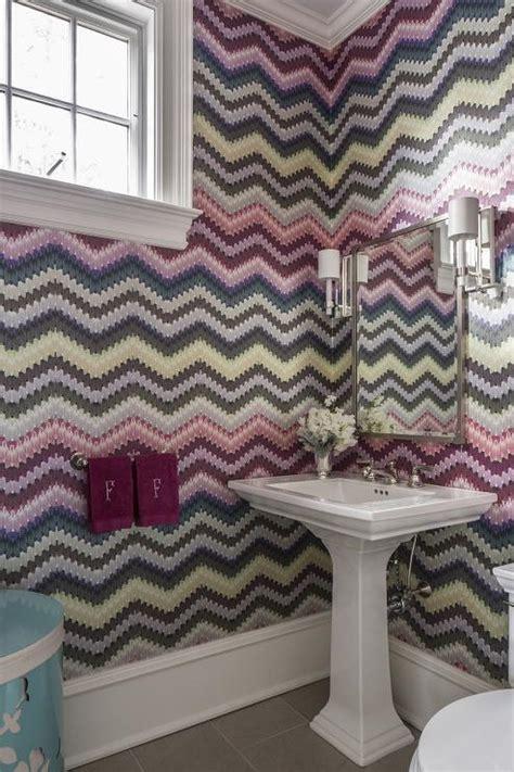 powder room with missoni wallpaper contemporary bathroom