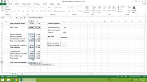 tutorial excel calculation excel 2013 tutorial how to calculate return on assets
