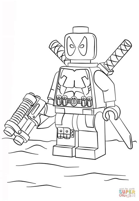 Lego Deadpool Coloring Pages lego deadpool coloring page free printable coloring pages