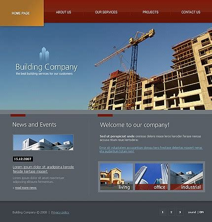 template 19268 building company flash website template