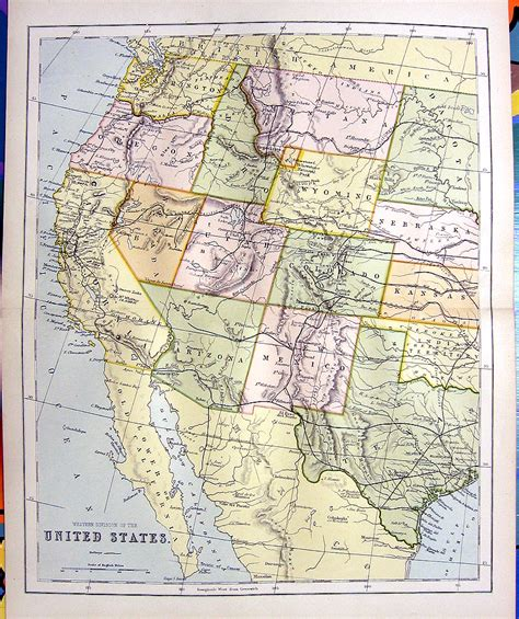 map of western us 1876 color engraving map of western united states