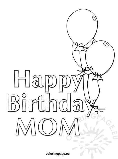happy birthday mom balloons coloring page