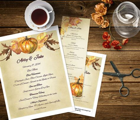 fall menu template pumpkin printable fall wedding menu template dinner menu