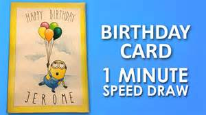 how to draw minion birthday card step by step learning lesson preview