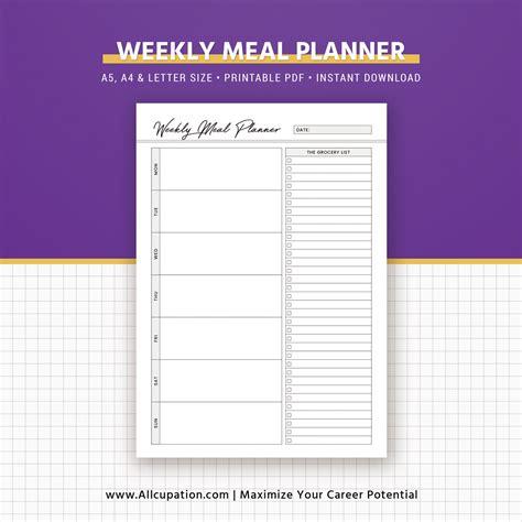 printable a4 weekly meal planner weekly meal planner inserts menu planner printable meal
