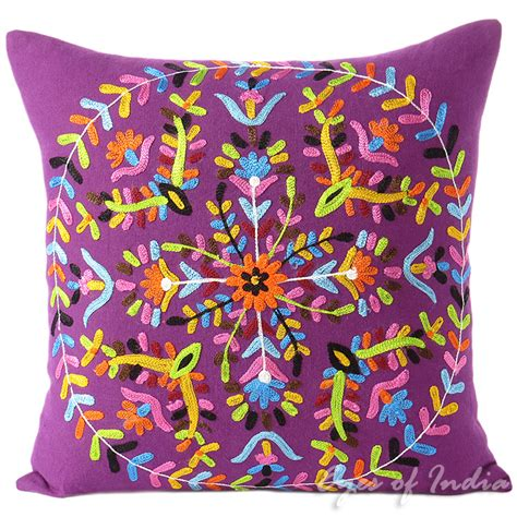 Colorful Pillows For Sofa Purple Embroidered Boho Colorful Decorative Bohemian Throw