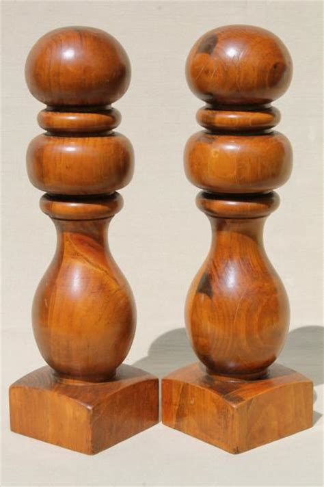 banister knob vintage turned wood finials hat stand baluster banister