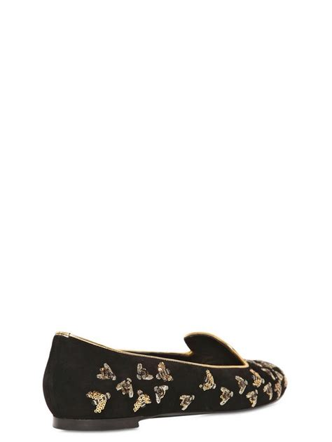 Bee Embroidery Loafers mcqueen sequined bees suede slip ons in black lyst