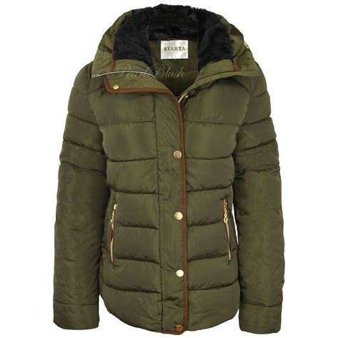 Womens Quilted Winter Coats by Womens Quilted Winter Coat Puffer Fur Collar Hooded