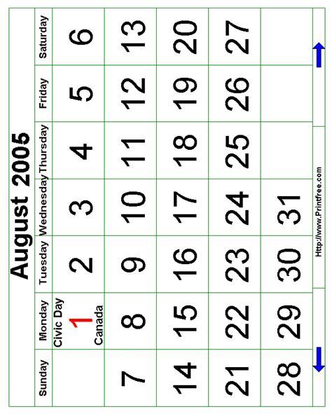 August 2005 Calendar August 2005 Bold Calendar