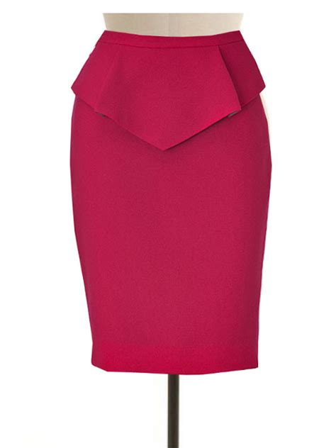 wool blend pencil skirt with peplum custom made to fit