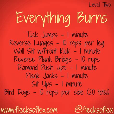 10 Minute No Floor Workout - everything burns 10 minute workout level two flecks