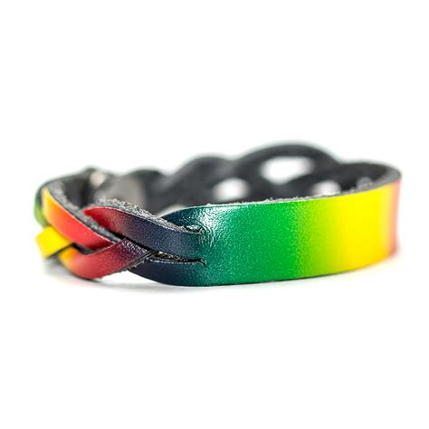 personalized leather bracelet rasta id