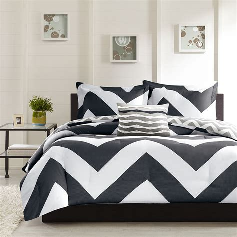 gray chevron bedding beautiful modern reversible black grey white stripe sport