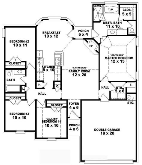 4 bedroom single floor house plans one story 4 bedroom 2 bath traditional style house plan