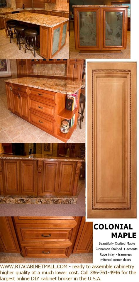 rta maple kitchen cabinets colonial maple with inlay doors drawers and mitered