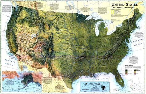 geographic map of united states mapsontheweb united states the physical landscape 1996